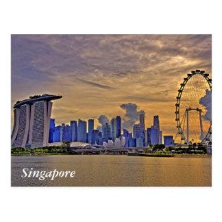 Singapore Skyline in the Sunset Postcard