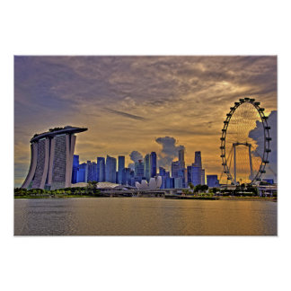 Singapore Skyline in the Sunset Poster