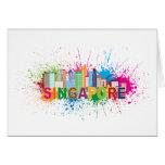 Singapore Skyline Paint Splatter Illustration Card