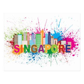 Singapore Skyline Paint Splatter Illustration Postcard