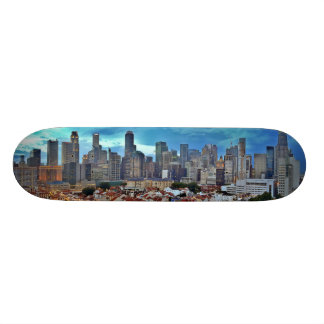 Singapore skyline viewed from Chinatown at sunset Skateboard