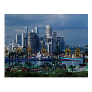Singapore skyline with Tanjong Container Port, Sin Postcards