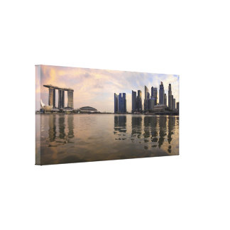 Singapore Sunset Stretched Canvas Print