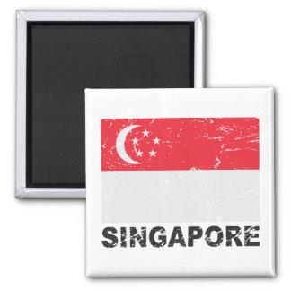 Singapore Vintage Flag 2 Inch Square Magnet