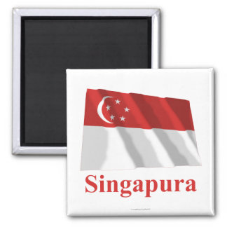 Singapore Waving Flag with Name in Malay Magnet