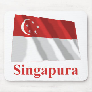 Singapore Waving Flag with Name in Malay Mouse Pad
