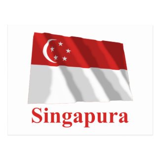 Singapore Waving Flag with Name in Malay Postcard