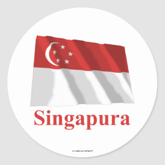 Singapore Waving Flag with Name in Malay Stickers