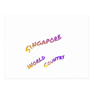 Singapore world country, colorful text art postcard