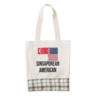 Singaporean American Flag Zazzle HEART Tote Bag