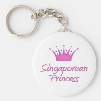 Singaporean Princess Basic Round Button Keychain