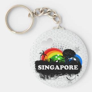 Singapur con sabor a fruta lindo llavero redondo tipo pin