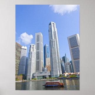 Singapur - distrito financiero póster