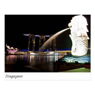 Singapur Merlion en la bahía del puerto deportivo Tarjeta Postal