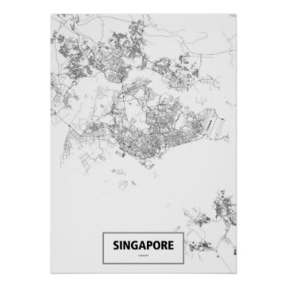 Singapur (negro en blanco, personalizado) póster