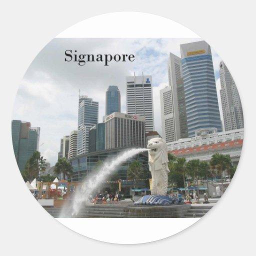 Singapur (por St.K) Pegatina Redonda