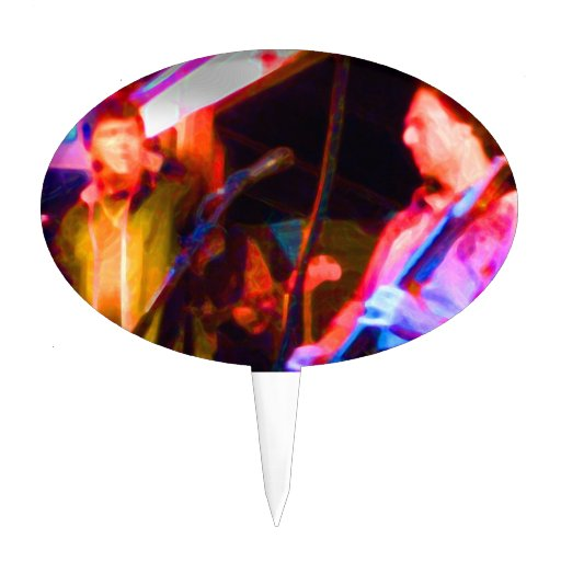 singer and guitar player saturated image cake topper