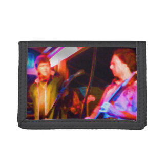 singer and guitar player saturated image tri-fold wallets