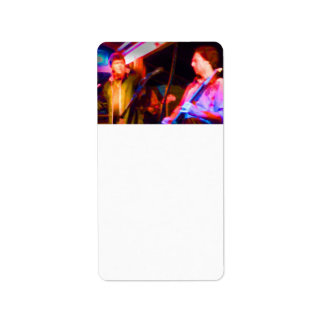 singer and guitar player saturated image custom address label