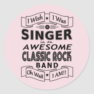 SINGER awesome classic rock band (blk) Classic Round Sticker