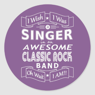 SINGER awesome classic rock band (wht) Classic Round Sticker