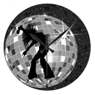Singer & Dancer Silhouette On DiscoBall Clock