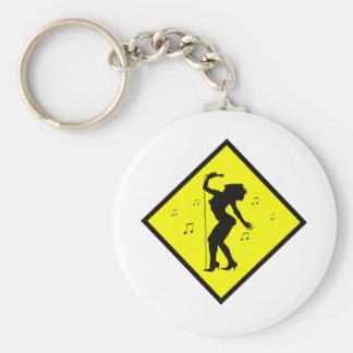 Singer Diva Crossing Sign Basic Round Button Keychain