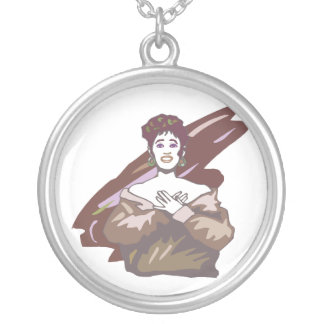 Singer graphic, muted burgundy color version silver plated necklace