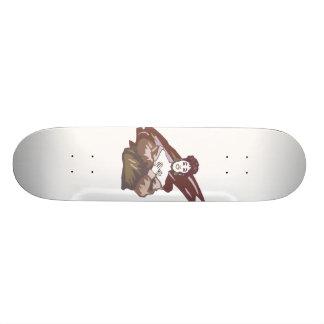 Singer graphic muted burgundy color version custom skateboard