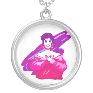 Singer graphic, purple and pink color version silver plated necklace