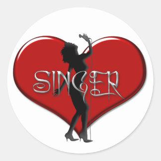 Singer I Love a Singer Heart Classic Round Sticker