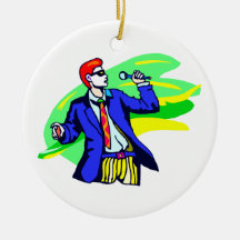 Singer in Suit and Sunglasses Double-Sided Ceramic Round Christmas Ornament