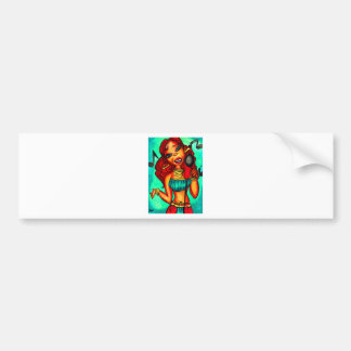 Singer lady painting bumper sticker