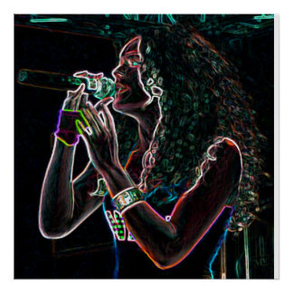 singer microphone song music pretty girl poster