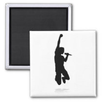 Singer Pop Country or Rock Star Silhouette Magnet