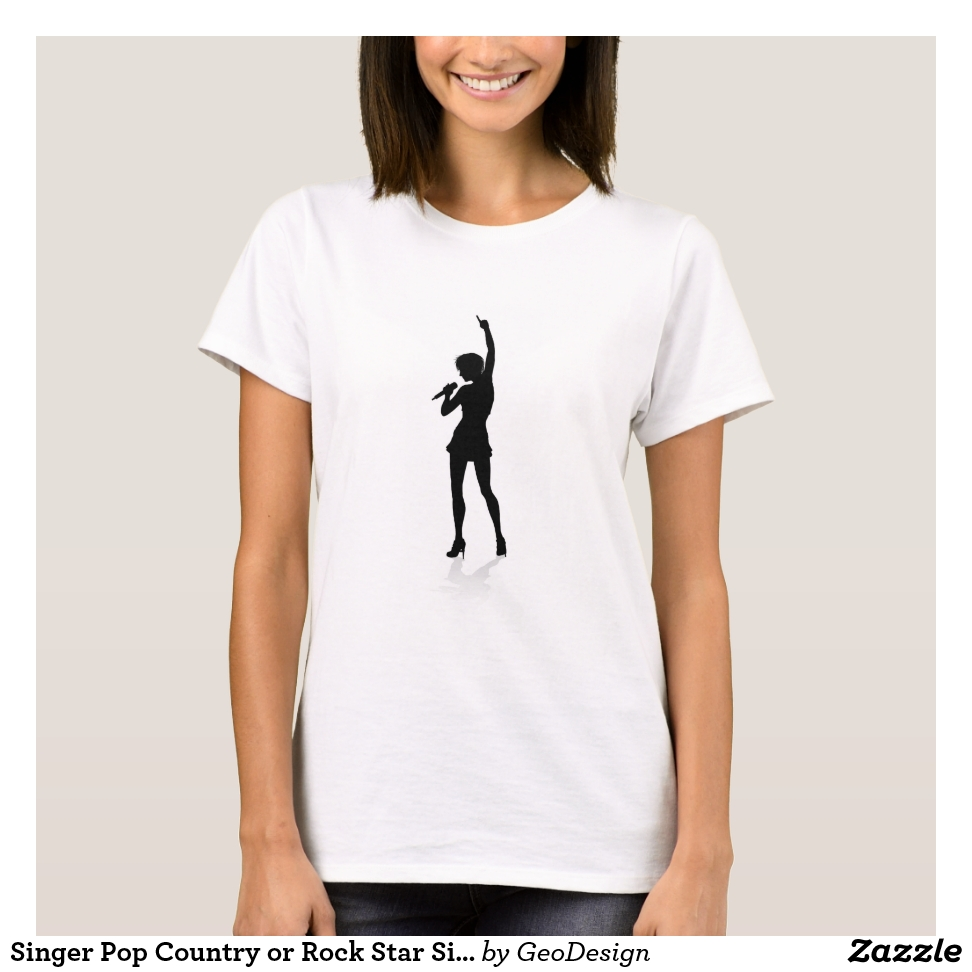 Singer Pop Country or Rock Star Silhouette Woman T-Shirt - Best Selling Long-Sleeve Street Fashion Shirt Designs