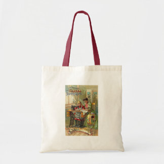 """Singer Sewing Machine Ad """"The First Lesson"""" Budget Tote Bag"""
