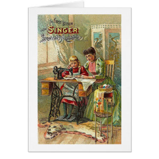"""Singer Sewing Machine Ad """"The First Lesson"""" Greeting Card"""