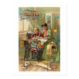 "Singer Sewing Machine Ad ""The First Lesson"" Retro Postcard"
