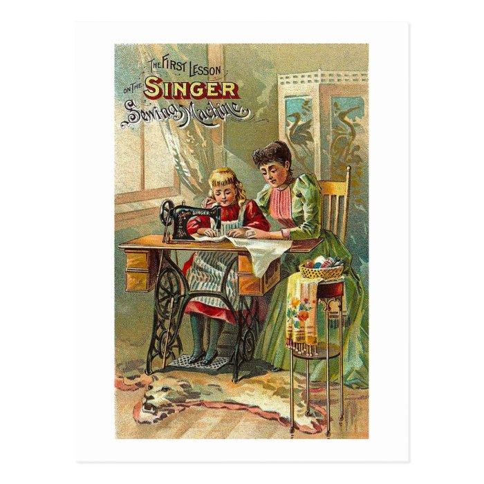 singer sewing machine postcards