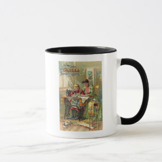 """Singer Sewing Machine """"The First Lesson"""" Victorian Mug"""
