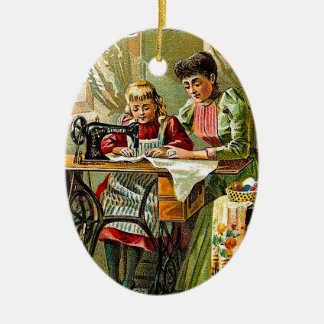"Singer Sewing Machine ""The First Lesson"" Vintage Ceramic Ornament"