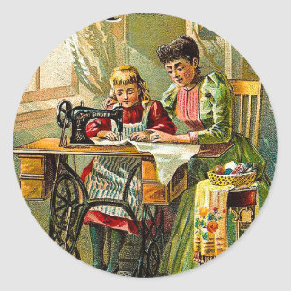 "Singer Sewing Machine ""The First Lesson"" Vintage Classic Round Sticker"