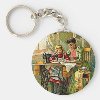 "Singer Sewing Machine ""The First Lesson"" Vintage Basic Round Button Keychain"