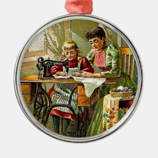 "Singer Sewing Machine ""The First Lesson"" Vintage Metal Ornament"