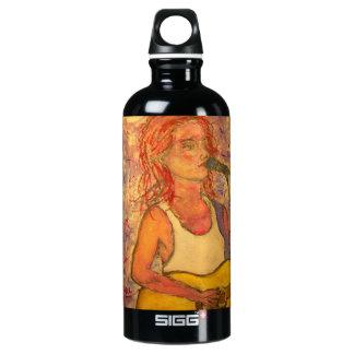 singer songwriter girl art aluminum water bottle