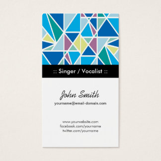 Singer / Vocalist Blue Abstract Geometry Business Card