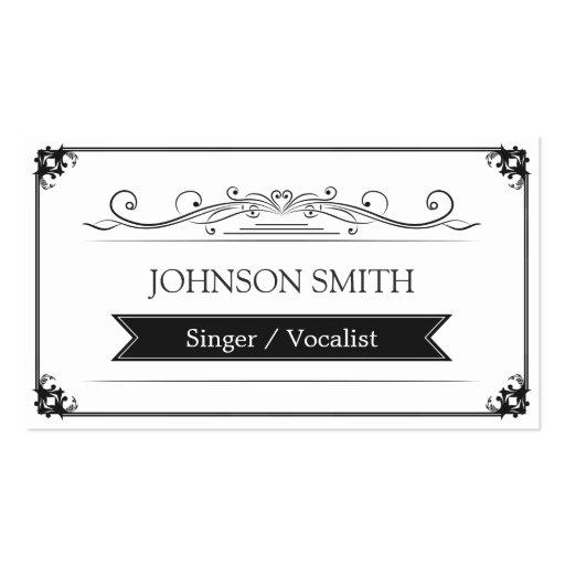 Singer / Vocalist - Classy Vintage Frame Business Cards