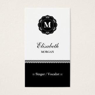 Singer / Vocalist - Elegant Black Lace Monogram Business Card
