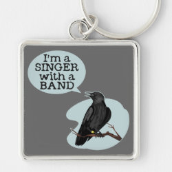Premium Square Keychain with Singer With A Band design